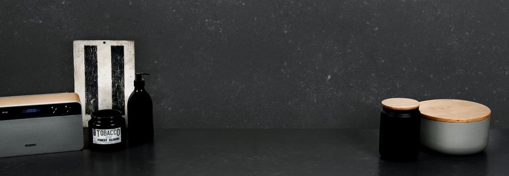 Arenastone scuro concreto engineered quartz worktop and upstand